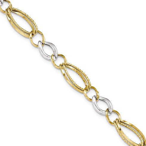14kt Two-tone Gold 8in Italian Link Bracelet with Tapered Oval Links
