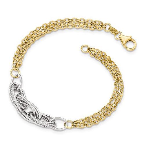 14kt Two-tone Gold 7 1/2in Italian Cable Chain Bracelet with Diamond-cut Oval Links