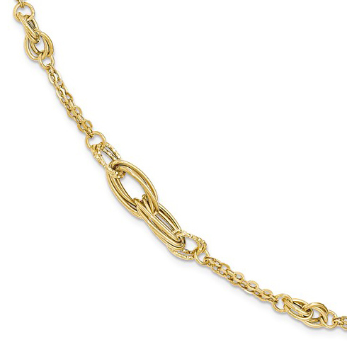 14kt Yellow Gold 7 1/2in Italian Diamond-cut Textured Fancy Link Bracelet