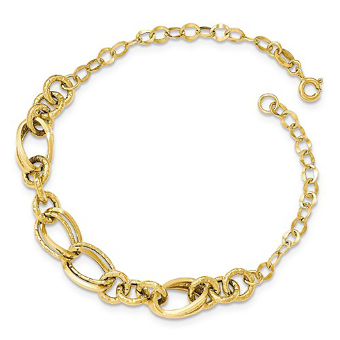 14kt Yellow Gold 8in Italian Bracelet with Round and Oval Fancy Links