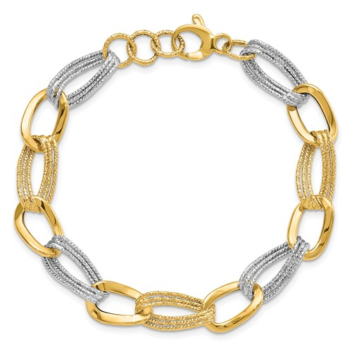 14kt Two-tone Gold 8in Italian Oval Link Bracelet with Rope Texture