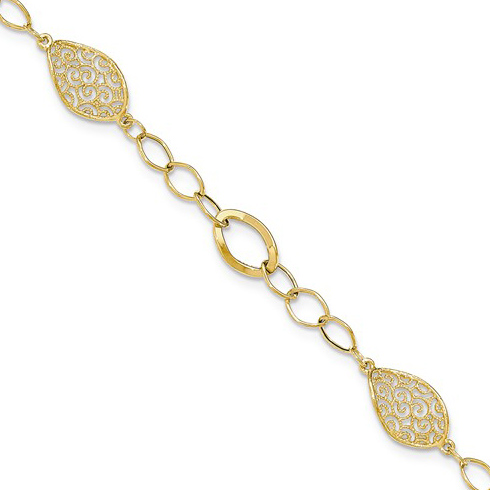 14kt Yellow Gold 7 1/2in Italian Milgrain Filigree Oval Link Bracelet
