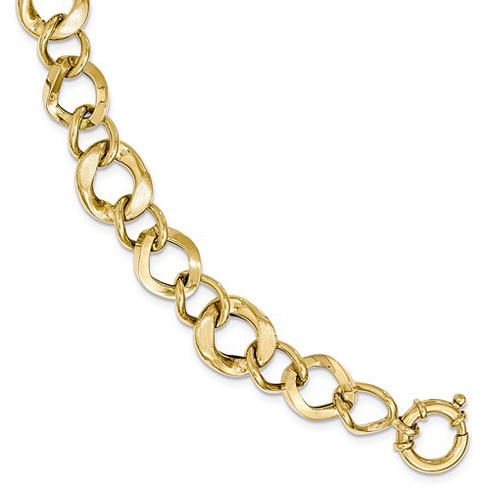 14kt Yellow Gold 8in Italian Brushed and Polished Link Bracelet