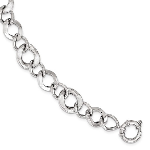 14kt White Gold 8in Italian Brushed and Polished Link Bracelet