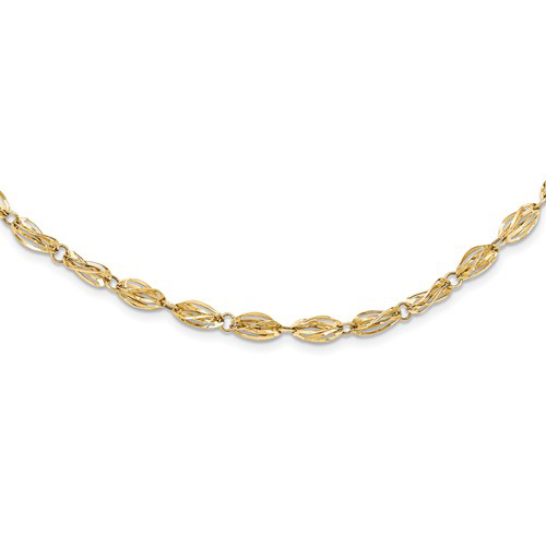 14kt Yellow Gold 18in Fancy Orb Link Necklace with Lobster Clasp