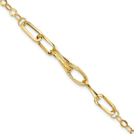 14kt Yellow Gold 7 3/4in Italian Textured Multi Link Bracelet