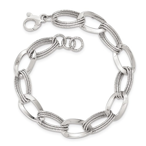 14kt White Gold 8in Italian Oval Link Bracelet with Rope Texture