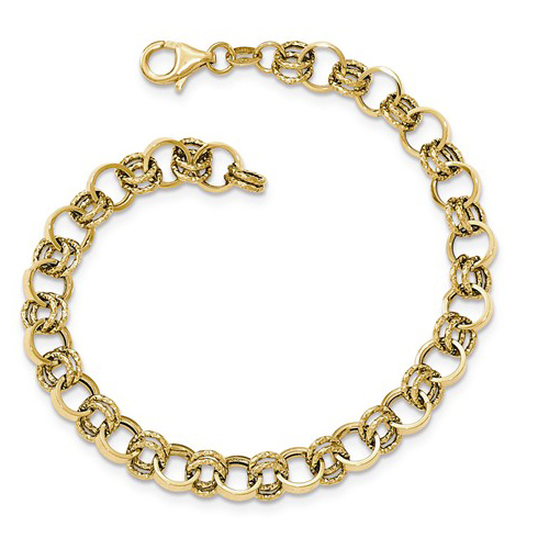 14kt Yellow Gold 7 3/4in Italian Bracelet with Round Bound Links