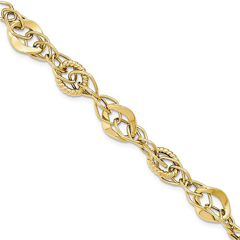 14kt Yellow Gold 7 3/4in Italian Bracelet with Oval Overlay Links