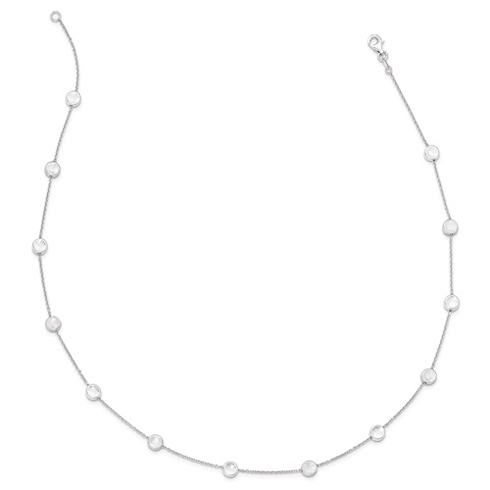 14kt White Gold Brushed and Polished Disc Station 18in Necklace