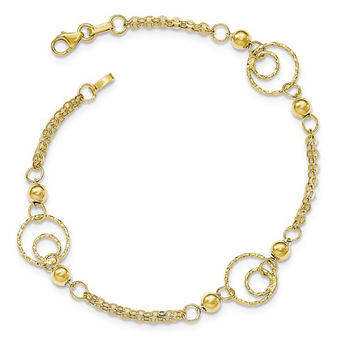 14kt Yellow Gold 7 1/2in Italian Textured Hoops Bracelet with Beads