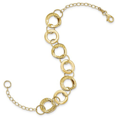 14kt Yellow Gold 7 1/2in Italian Diamond-cut and Polished Circles Bracelet