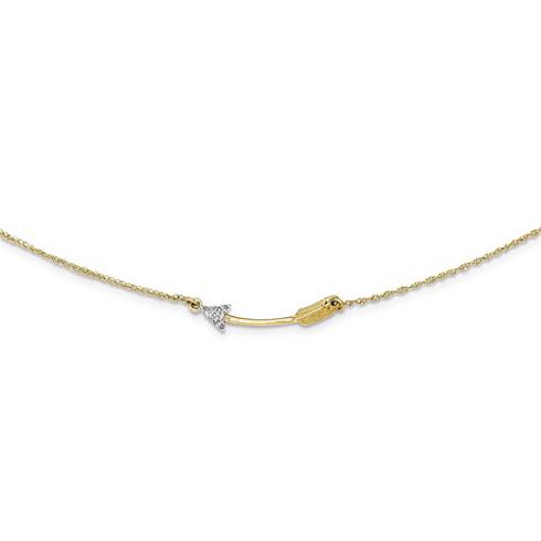 14kt Yellow Gold Diamond Arrow Necklace
