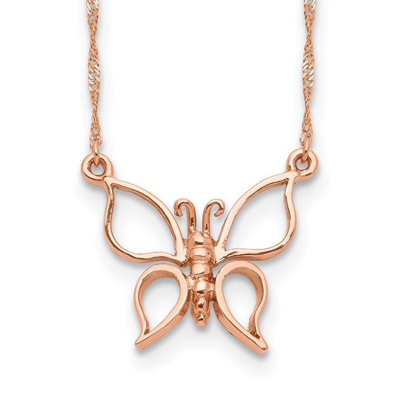 14kt Rose Gold 1/2in Butterfly on 17in Necklace