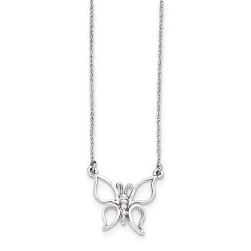 14kt White Gold 1/2in Butterfly on 17in Necklace