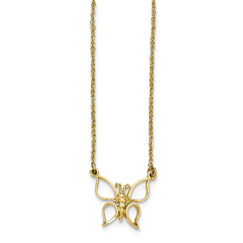 14kt Yellow Gold 1/2in Butterfly on 17in Necklace