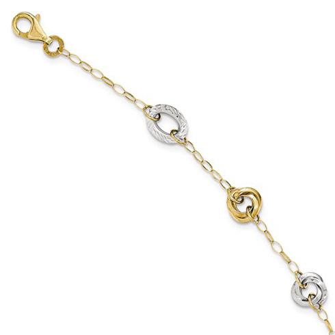 14kt Tri-tone Gold 7 1/2in Italian Fancy Textured Link Bracelet