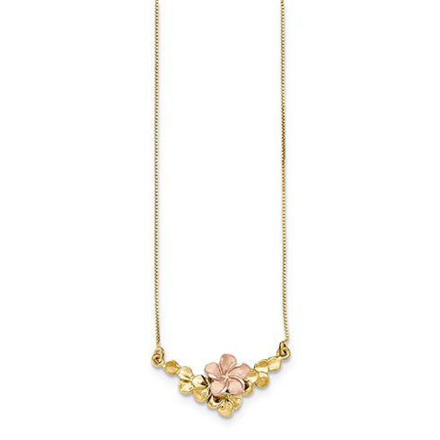 14kt Two-tone Gold Satin and Polished Flower 17in Necklace