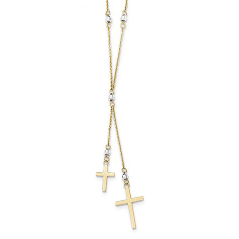 14kt Two-tone Gold Dangling Cross Duo 16in Necklace