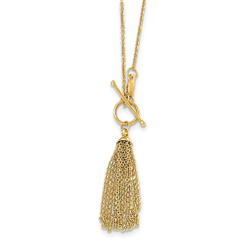 14kt Yellow Gold Tassel and Toggle Necklace