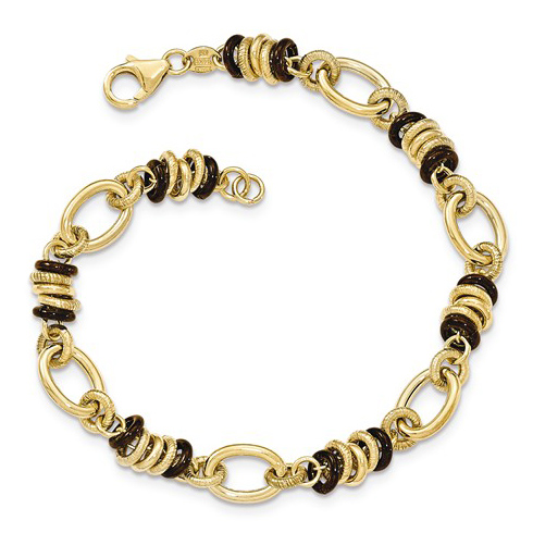 14kt Yellow and Brown Gold 8in Italian Textured  Link Bracelet