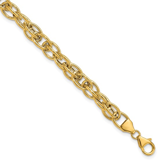 14kt Two-tone Gold 7 1/2in Italian Polished Interlaced Oval Link Bracelet