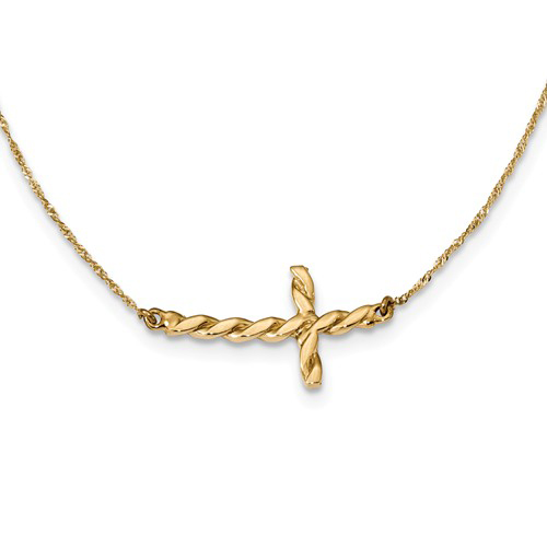 14kt Yellow Gold Twisted Sideways Cross 17in Necklace