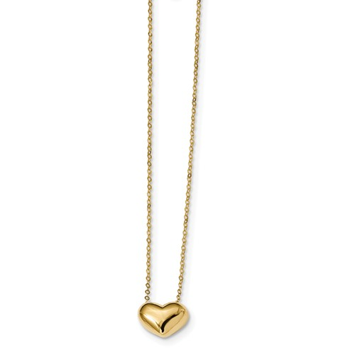 14k Yellow Gold Italian Puffed Heart 18in Necklace