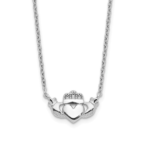 14kt White Gold Claddagh Necklace