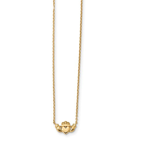 14kt Yellow Gold Claddagh Necklace