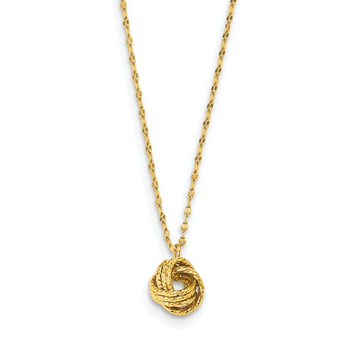 14k Yellow Gold Diamond-cut Love Knot Necklace