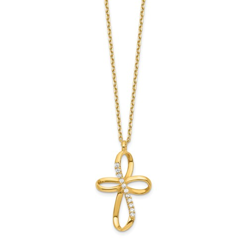 14k Yellow Gold CZ Rounded Open Cross Necklace
