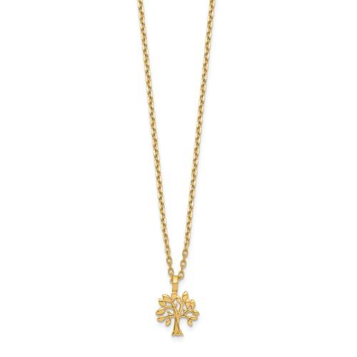 14k Yellow Gold Tiny Tree of Life Necklace