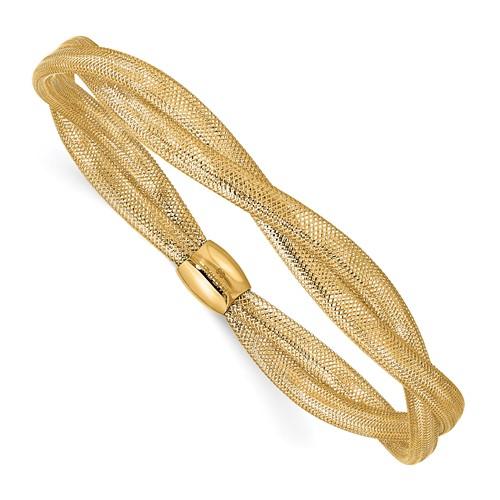 14k Yellow Gold Italian Twisted Woven Mesh Stretch Bracelet