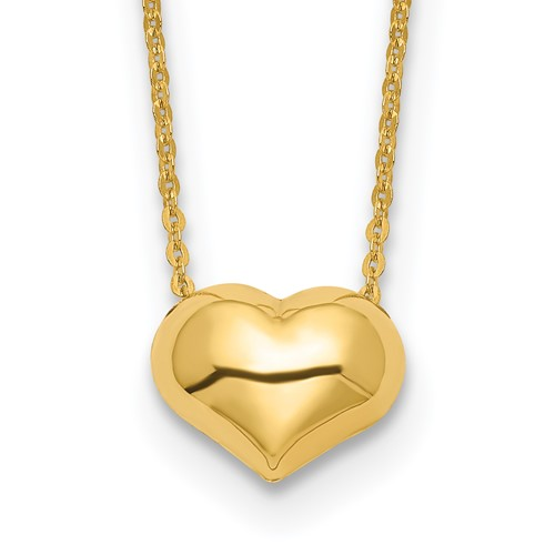 14k Yellow Gold Puffed Heart Necklace 16.5in