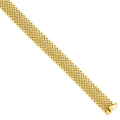 14k Yellow Gold Wide Mesh Bracelet with Box Clasp 7.25in