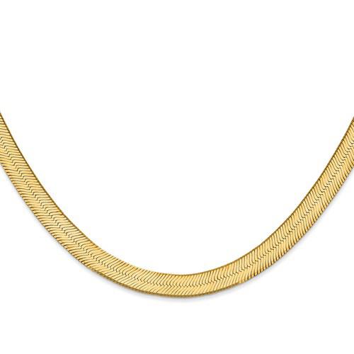 14kt Yellow Gold 18in Silky Herringbone Chain 6.5mm