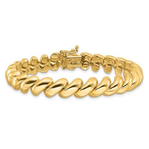 14k Yellow Gold 8in San Marco Bracelet 10mm