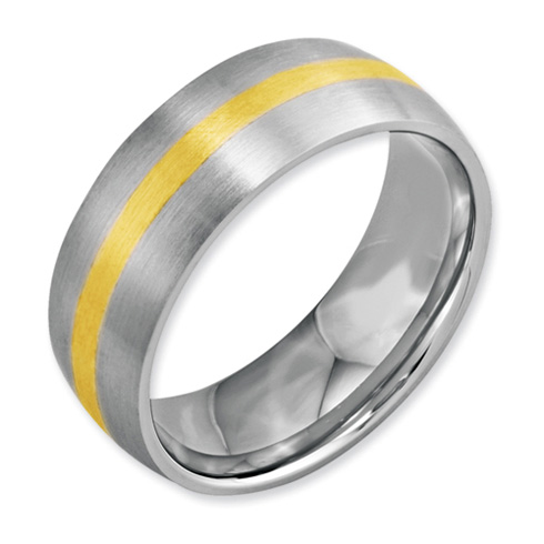 8mm Stainless Steel Ring with 14kt Gold Inlay