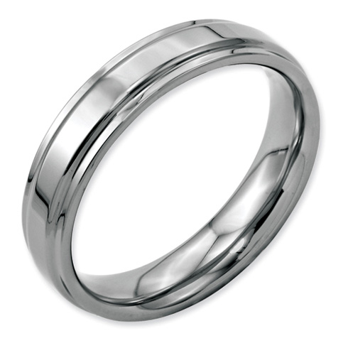 Stainless Steel Ridged Edge 5mm Polished Band