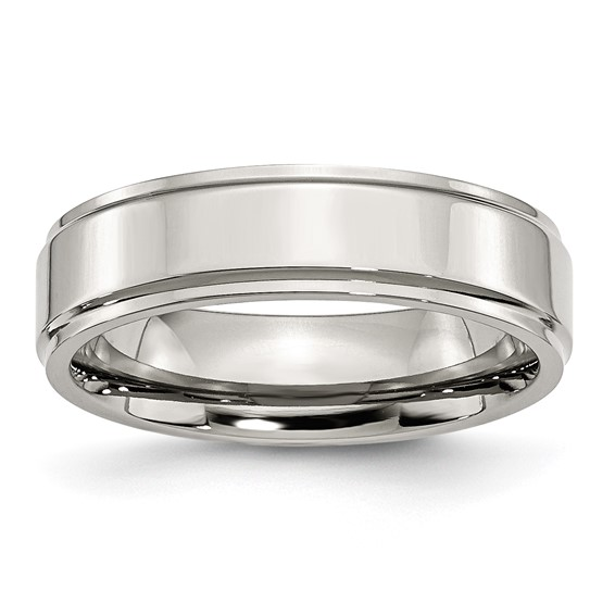 Stainless Steel Ridged Edge 6mm Polished Band