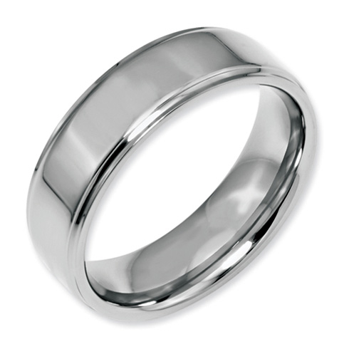 Stainless Steel Ridged Edge 7mm Polished Band