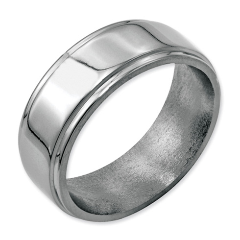 Stainless Steel Ridged Edge 8mm Polished Band