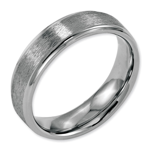 Stainless Steel Ridged Edge 6mm Satin and Polished Band