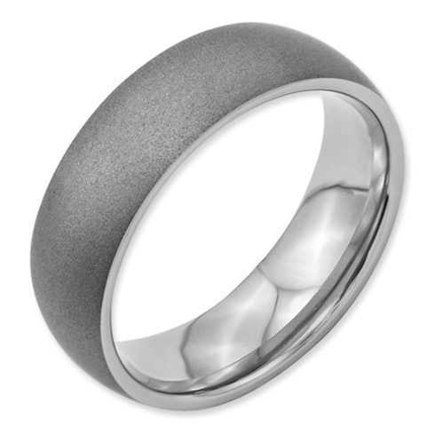 Stainless Steel 7mm Stone Finish Wedding Band