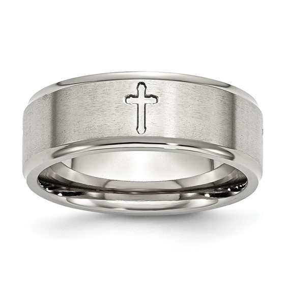 Stainless Steel 8mm BrushedCross Wedding Band with Ridged Edges