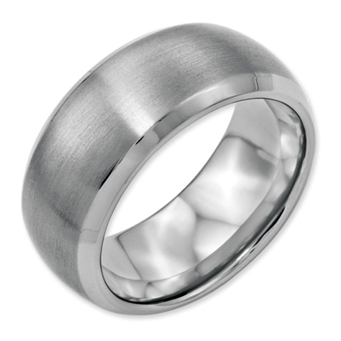 Stainless Steel Beveled Edge 10mm Satin and Polished Band