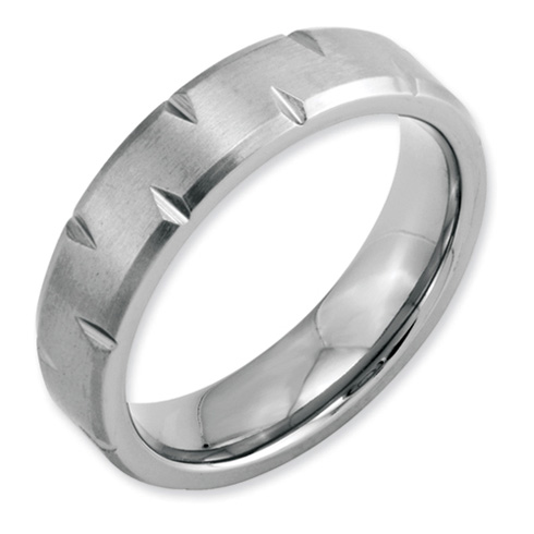 Stainless Steel Notched 6mm Satin Band