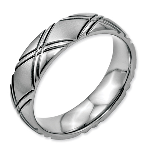 Stainless Steel Criss-cross Design 6mm Satin and Polished Band