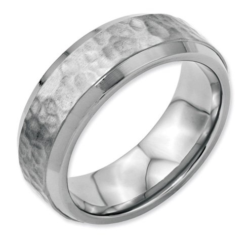 Stainless Steel 8mm Hammered and Polished Band